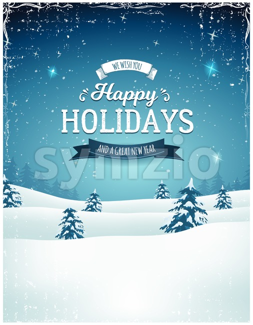 Illustration of a retro christmas landscape background, with firs, snow and elegant banners for winter and new year holidays