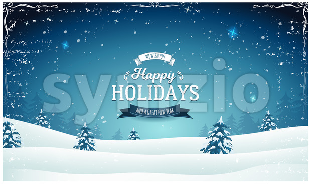 Vintage Wide Christmas Landscape Stock Vector