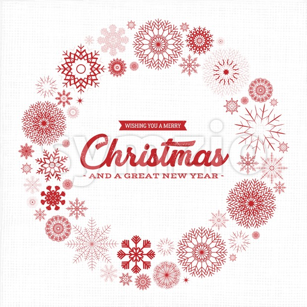 Illustration of an elegant christmas vintage background, with fabric texture, circles of snowflakes and grunge texture, for christmas and new ...