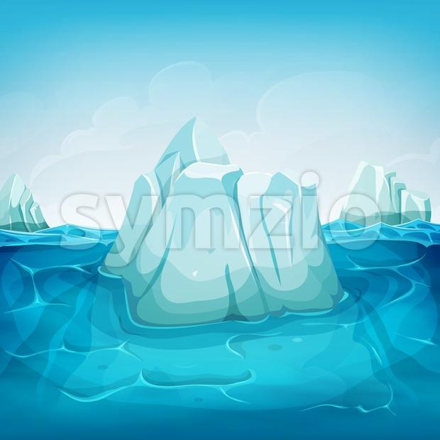 Iceberg Inside Ocean Landscape Stock Vector