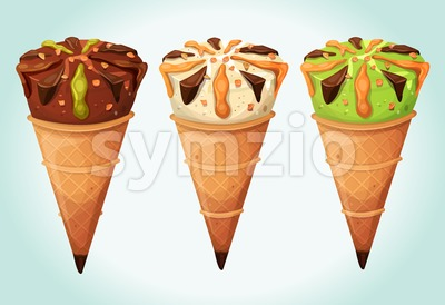 Classic Ice Cream Cones Set Stock Vector
