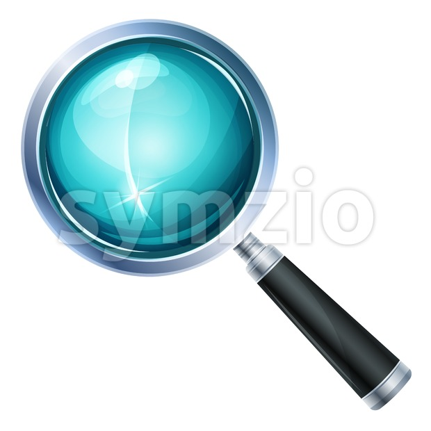 Illustration of a realistic design magnifying glass icon and zoom lens equipment, isolated on white background