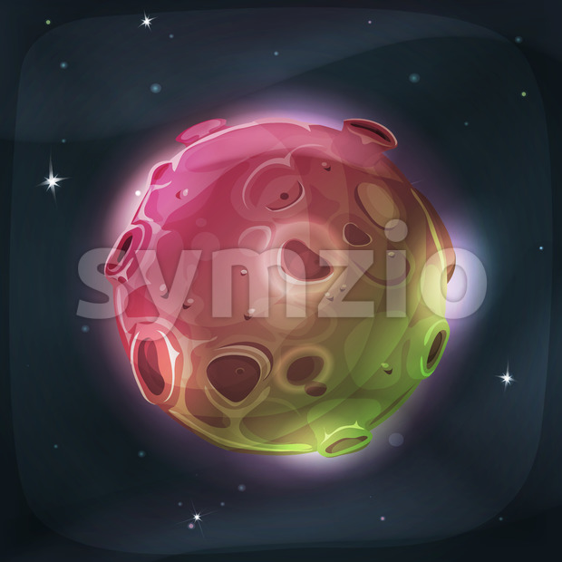 Illustration of a cartoon funny and fairy alien moon or planet globe, with craters, holes, volcano areas and light halo ...