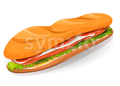Swedish Sandwich With Salmon Fish, Fresh Cheese And Salad Stock Vector