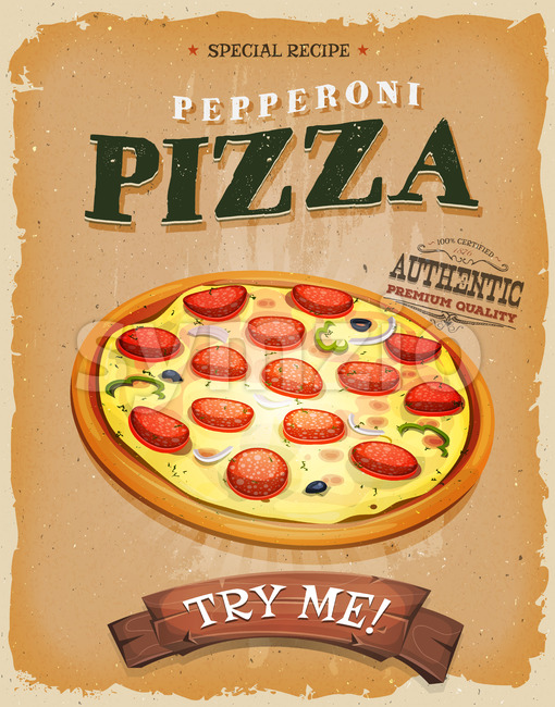 Grunge And Vintage Pepperoni Pizza Poster Stock Vector