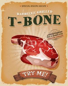 Grunge And Vintage T-Bone Steak Poster Stock Vector