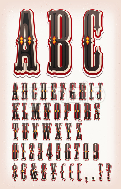 Vintage Circus And Western ABC Font Stock Vector