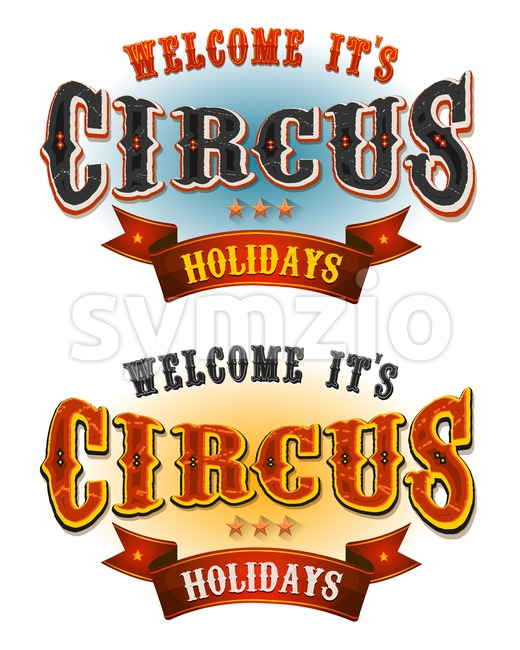 Circus Holidays Welcome Banners Stock Vector
