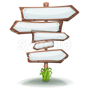 Wood Road Signs Arrows With Blank Paper Signs Stock Vector