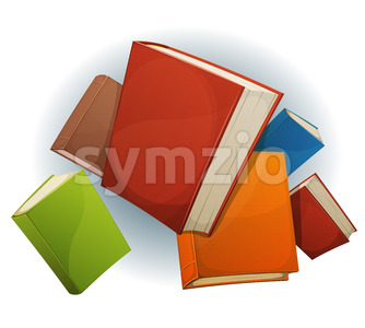 Books Stack Flying Stock Vector
