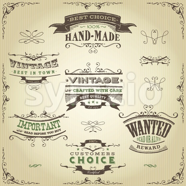 Hand Drawn Western Banners And Ribbons Stock Vector