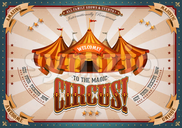 Vintage Circus Poster With Big Top Stock Vector