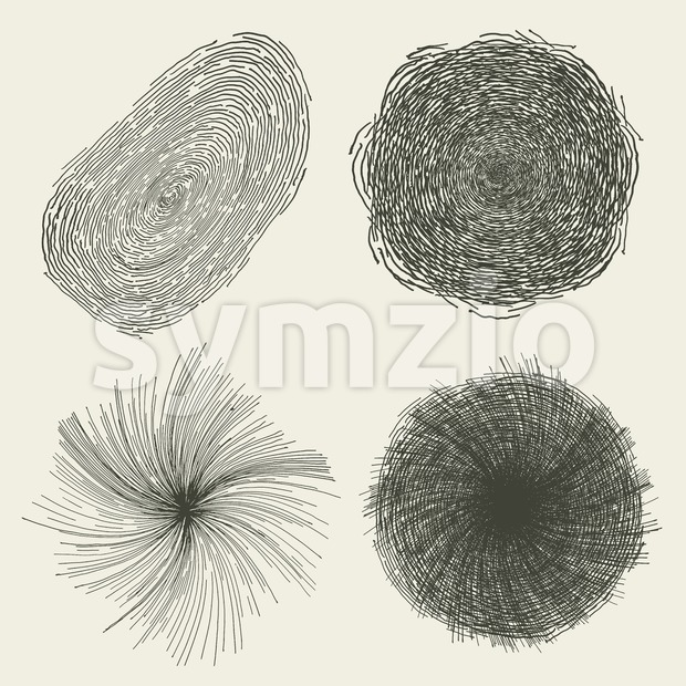 Abstract Hand Drawn Circles, Splashes And Shapes Stock Vector