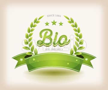 Bio And Eco Label With Green Banner Stock Vector