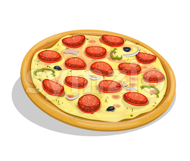 Pepperoni Pizza Stock Vector