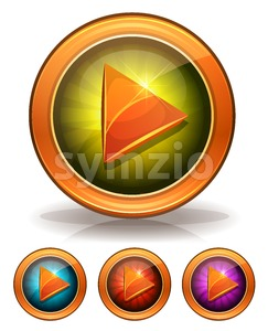 Golden Play Buttons For Game Ui Stock Vector