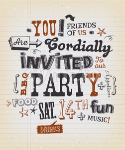 Party Invitation Poster On School Paper Stock Vector