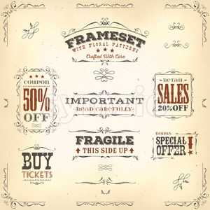 Hand Drawn Vintage Banners And Ribbons Stock Photo