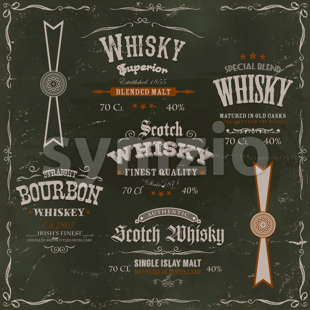 Illustration of a vintage design set of whisky drinks and beverage labels, with textures, celtic patterns and label for bottle, ...