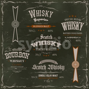 Whisky Labels And Seals On Chalkboard Background Stock Vector