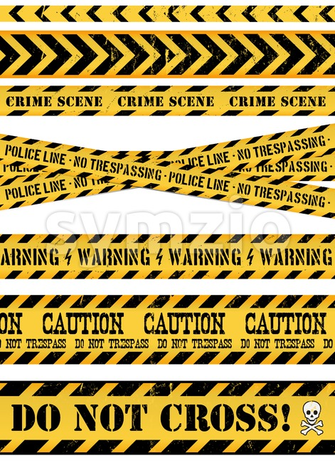 Illustration of a set of seamless grunge police and do not cross lines, danger sign, crime and warning tapes
