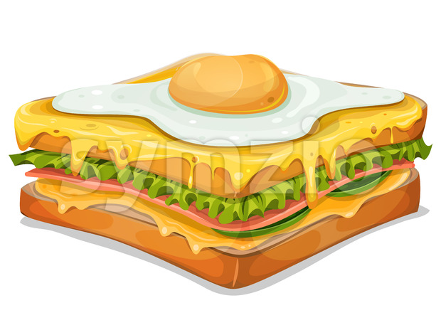 French Sandwich With Fried Egg Stock Vector