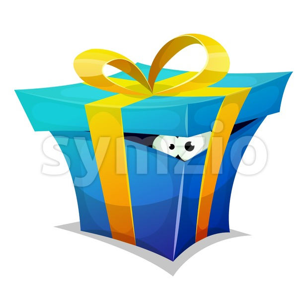 Birthday Gift Box With Fun Creature Inside Stock Vector