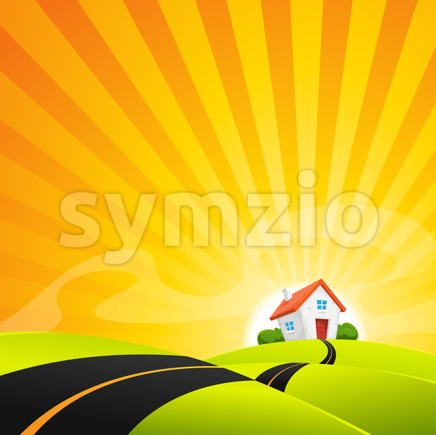 Small House In Summer Sunrise Landscape Stock Vector
