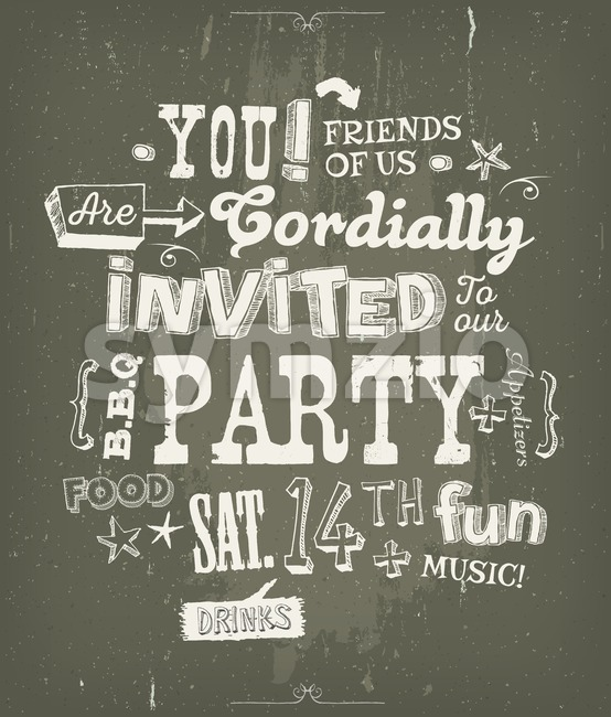 Party Invitation Poster On Chalkboard Background Stock Vector