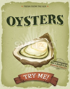 Grunge And Vintage Oyster Shell Poster Stock Vector