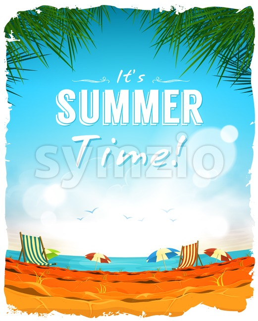 Summer Time Poster Background Stock Vector