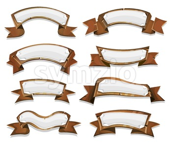 Wood Banners And Ribbons For Game Ui Stock Vector