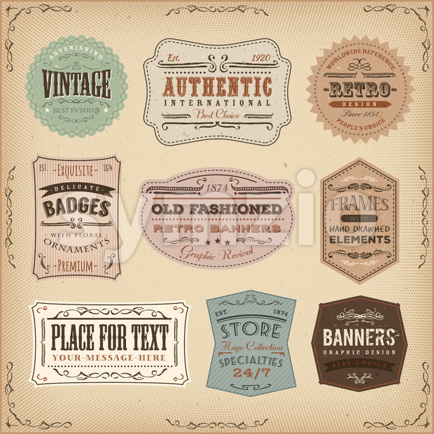 Vintage And Old-Fashioned Labels Ans Signs Stock Vector