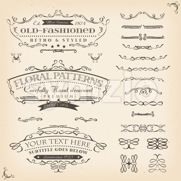 Illustration of a set of retro labels, frames, sketched banners, floral patterns and graphic design elements on vintage old paper ...