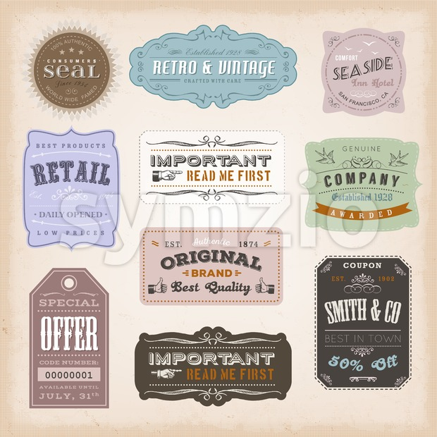 Vintage Labels Ans Signs Stock Vector
