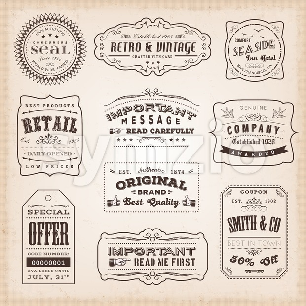 Illustration of retro and vintage hand-drawn business labels and signs, including ancient fonts, with old-fashioned seals, badges, certificates and sales ...
