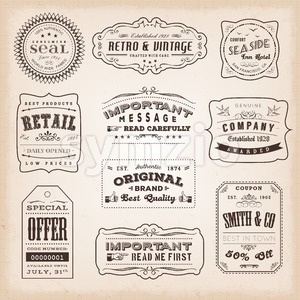Vintage And Old-Fashioned Labels And Signs Stock Vector