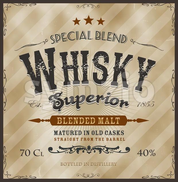 Whisky Label For Bottle Stock Vector