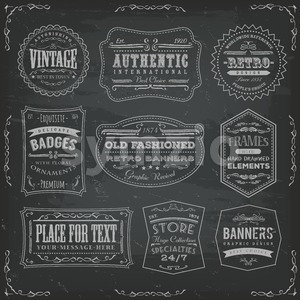 Vintage Labels Ans Signs On Blackboard Stock Photo
