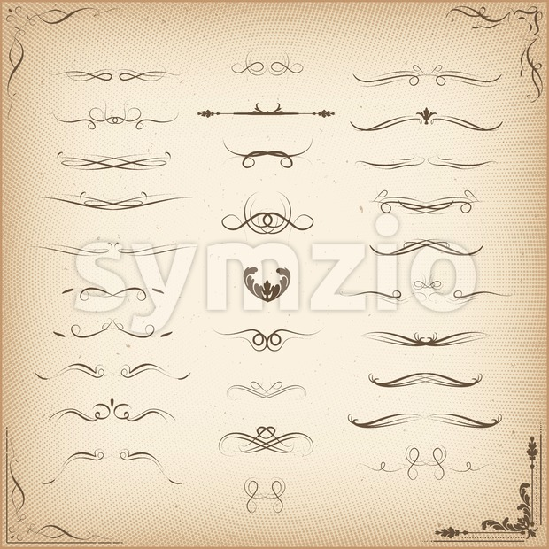 Vintage Ornaments And Decorations Set Stock Vector