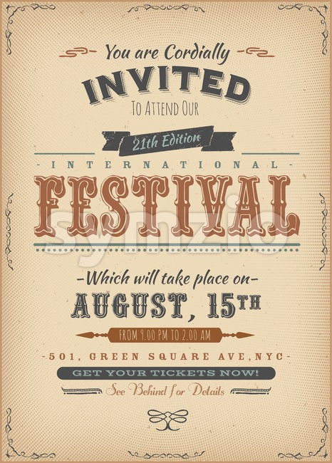 Vintage Festival Invitation Poster Stock Vector