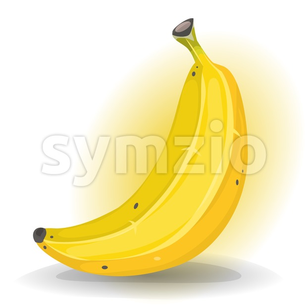 Illustration of a cartoon design appetizing cavendish banana fruit