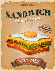 Grunge And Vintage Sandwich With Fried Egg Poster Stock Vector