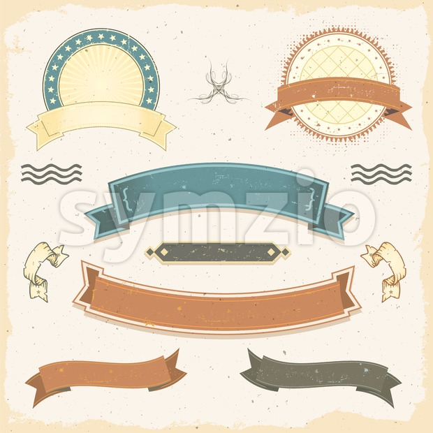 Grunge Banners And Ribbons Set Stock Vector