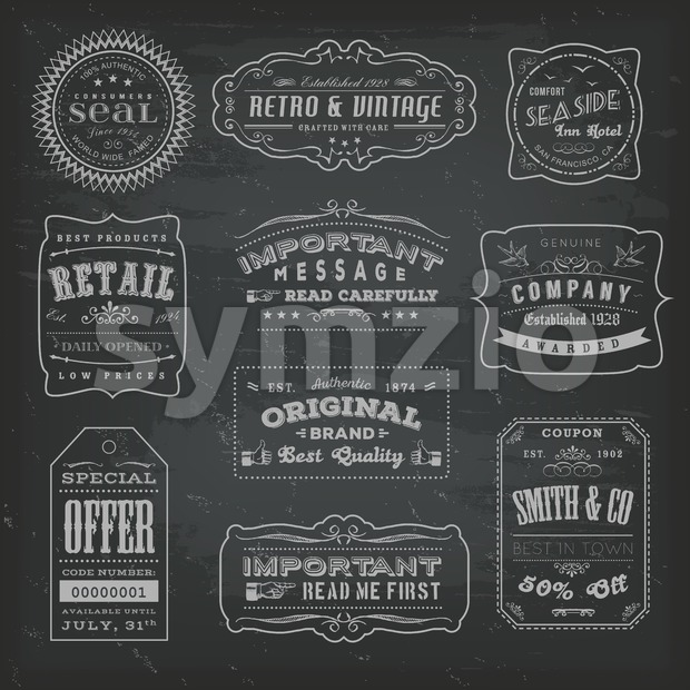 Vintage Labels Ans Signs On Blackboard Stock Vector
