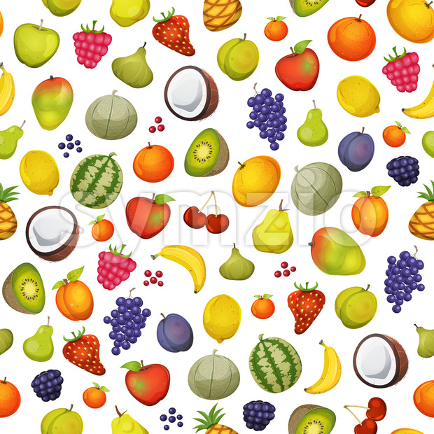 Seamless Fruit Icons Background Stock Vector