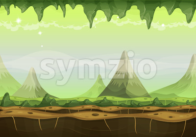 Fantasy Sci-fi Alien Landscape For Game Ui Stock Vector