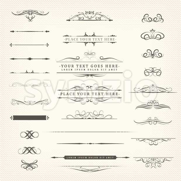 Illustration of a set of retro ornate, frames, banners, floral patterns and design separation lines