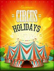 Summer Circus Holidays Poster Stock Vector