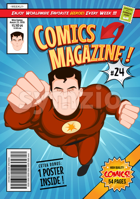 Illustration of a cartoon editable comic book cover template, with super hero character flying, titles and subtitles to customize, and ...